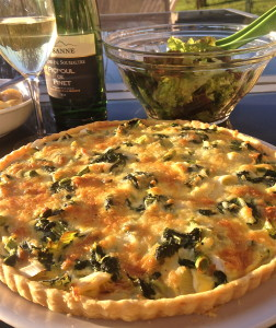A cheese and chard tart made with Laguiole, a delicious local cheese.
